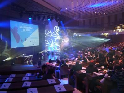 """""""Illuminando Le Star"""", Roma. La sala dell'Auditorium Antonianum attrezzata per il seminario di Woodroffe da Clay Paky in una delle fasi iniziali dell'incontro"""