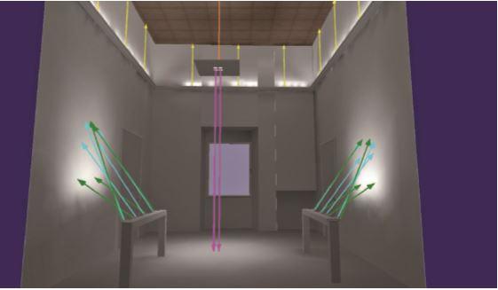 Simulazione con lo studio dei puntamenti dei mini proiettori (cortesia dell'autore)