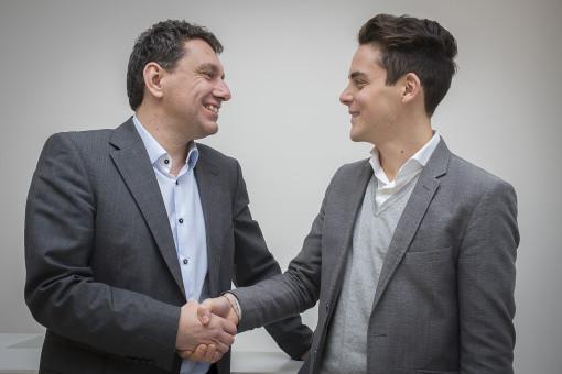 Da sinistra, Sven Dressel, responsabile della nuova filiale tedesca di AEC Illuminazione, con Lorenzo Cini Vice President di AEC Illuminazione