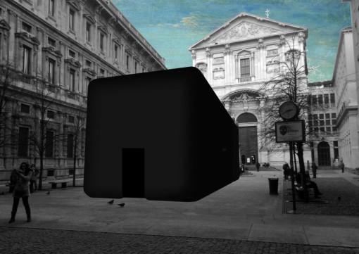 """""""Favilla. Ogni luce una voce"""". Euroluce 2015, Milano – Piazza S. Fedele. Rendering con il progetto dell'installazione (cortesia: Studio di Architettura Attilio Stocchi)"""