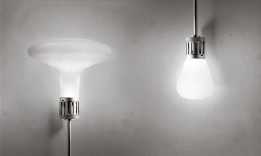 La lampadina n55: a sx, il modello progettato da Peter Zumthor, a dx quello di Mario Nanni