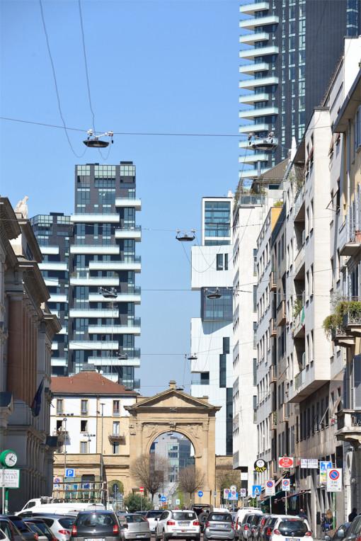 """Milano, Corso di Porta Nuova. Apparecchi """"ITALO"""" installati a tesata (cortesia: AEC Illuminazione)"""