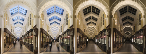 Londra, Burlington Arcade. Una sequenza con alcuni dei differenti scenari di accensione per i nuovi sistemi di illuminazione predisposti (courtesy photo: James Newton)