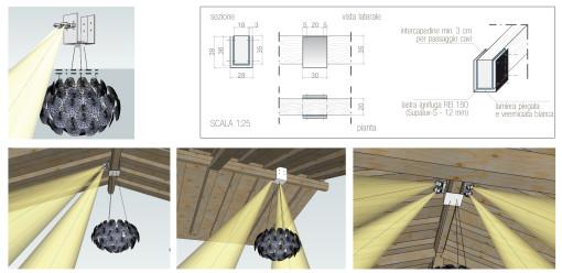 Il sostegno ad hoc progettato per concentrare i punti luci in prossimità della trave di colmo (cortesia: Studio Urbano)