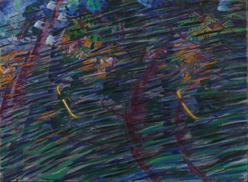 Una delle opere esposte. Umberto Boccioni, Trittico degli Stati d'Animo – Quelli che vanno (1911) (cortesia: Comune di Milano)
