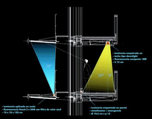 Sezione verticale della facciata della Torre con il posizionamento dei sistemi di illuminazione (cortesia: Artec3 Lighting Design Vision, Barcellona)