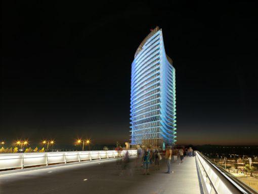 Zaragoza, Torre del Agua. Vista notturna da sud-est. In questa vista, la rotazione della forma è chiaramente comprensibile perché le tonalità di colore esprimono transizioni e movimenti. (cortesia: Artec3 Lighting Design Vision, Barcellona ) (foto: Xabier Graells, cortesia: Lamp)