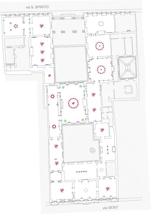 Planimetria del museo con le aree e tipologie di intervento: sostituzione delle sorgenti nude (blu e verde) e nuove piastre a LED (rosso) (cortesia: Metis Lighting)