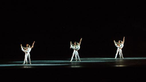 Terme di Caracalla, Pink Floyd Ballet. Su ogni coppia di danzatori è presente, sia da DX che da SX, un Mac Performance di taglio posto sui tralicci in alto, di colore bianco; ETC di taglio posti in basso, alcuni con colore bianco e altri con gelatina L207 (courtesy: ©Yasuko Kageyama - Teatro dell'Opera di Roma - Caracalla 2015)