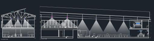 Schema di progetto con le sezioni degli ambienti ufficio (cortesia: Studio Paola Urbano)