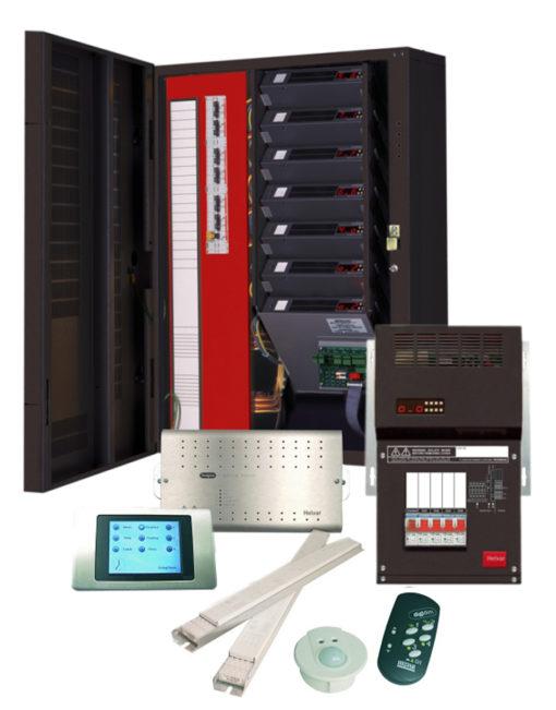 Una panoramica dei componenti del sistema di gestione e controllo dell'illuminazione utilizzati per l'Ozeaneum (sistema Imagine Router, cortesia: Helvar)