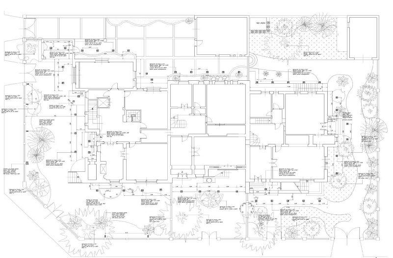 Progettoilluminotecnico per i Villini delle Fate, Roma. Planimetria PianoTerra (cortesia: arch. Francesca Storaro)