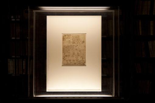 """Pinacoteca Ambrosiana. Sala Federiciana. Uno dei disegni del """"Codice Atlantico"""" di Leonardo da Vinci con il nuovo impianto di illuminazione (courtesy photo: Barbara Bonomelli)"""