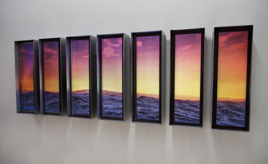 """Split Swell"" (2016), digital animation on seven custom LCD displays, custom aluminum and patina steel frames, glass, synchronized playback, custom electronics 30 x 87 inches 10 minute infinite loop"