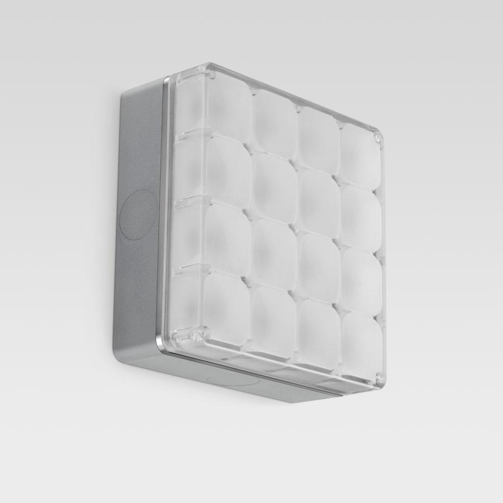 """Un'altra versione di """"Cells"""", in finitura grigia satinata cromo (design: Speirs + Major, per Reggiani Illuminazione)"""