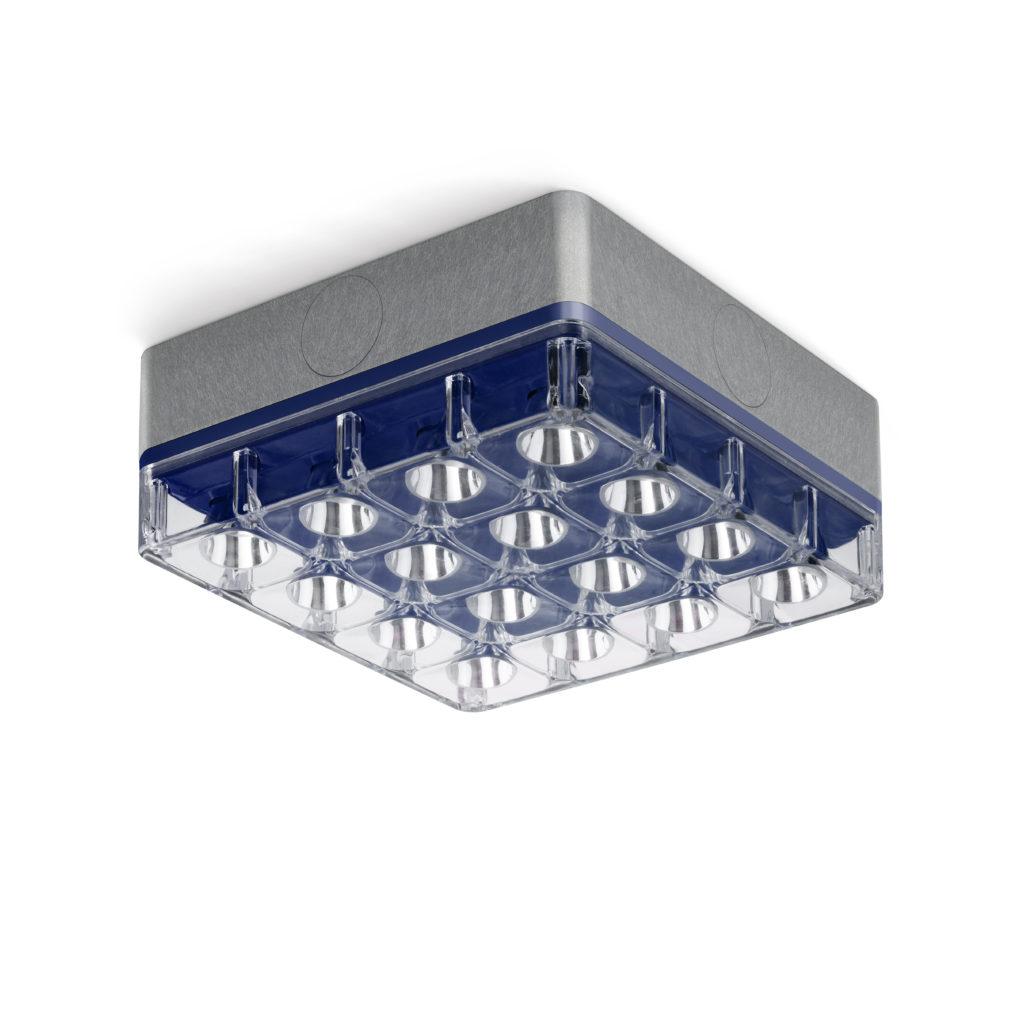 """L'apparecchio """"Cells"""" in versione plafone con finitura alluminio e blu (design: Speirs + Major, per Reggiani Illuminazione)"""