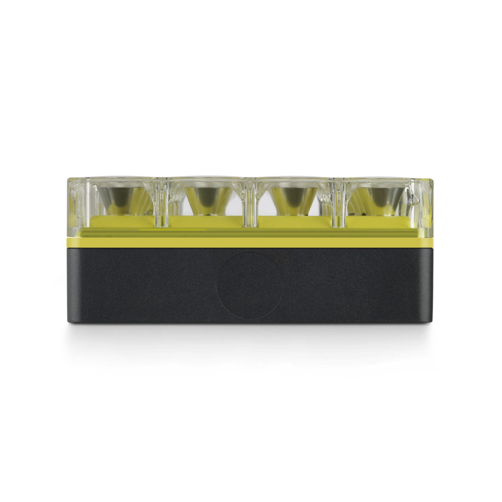 """L'apparecchio """"Cells"""" visto di profilo con finitura colore giallo (design: Speirs + Major, per Reggiani Illuminazione)"""