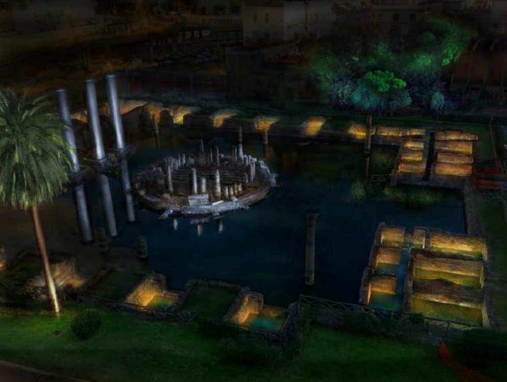 Pozzuoli. Area archeologica del Macellum. Un'immagine che presenta uno degli studi per il lighting concept del nuovo progetto di illuminazione (courtesy: Cannata & Partners Lighting Design Communication)