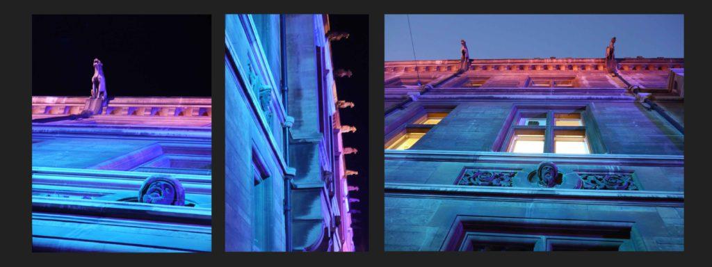 Cambridge, Gonville and Caius College. Dettagli dell'illuminazione sulla facciata (courtesy photo: Malgosia Benham)