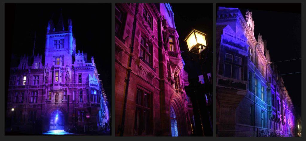 Cambridge, Gonville and Caius College. Dettagli con l'illuminazione realizzata per l'ingresso principale del College, sull'angolo esterno sud-est della Tree Court, con l'illuminazione d'accento per le statue dei tre fondatori - Edmund Gonville, Dr John Caius ed il vescovo William Bateman (courtesy photo: Malgosia Benham)