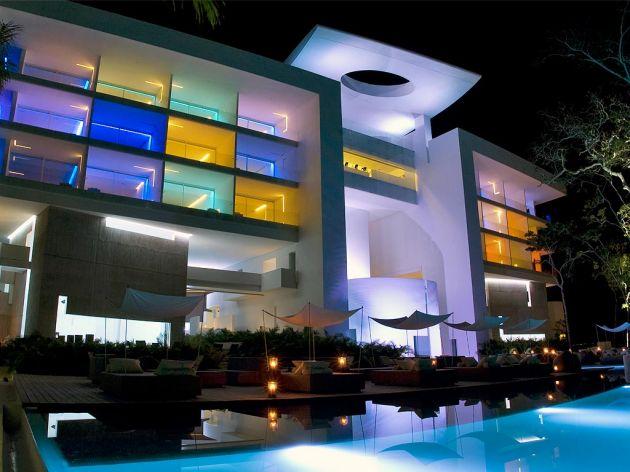 Credit: Paul Czitrom - Architect Miguel Angel Aragones and Lighting Designer Gustavo Avilés Award Winning Color Lighting Design at Hotel Encanto Acapulco Mexico