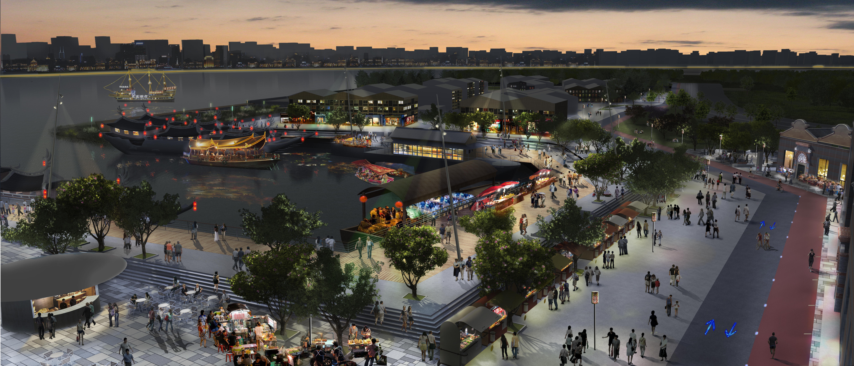 Shanghai, Huang Pu River. Rendering con uno degli scenari fluviali (courtesy: Frédérique Parent, Agence CONCEPTO)