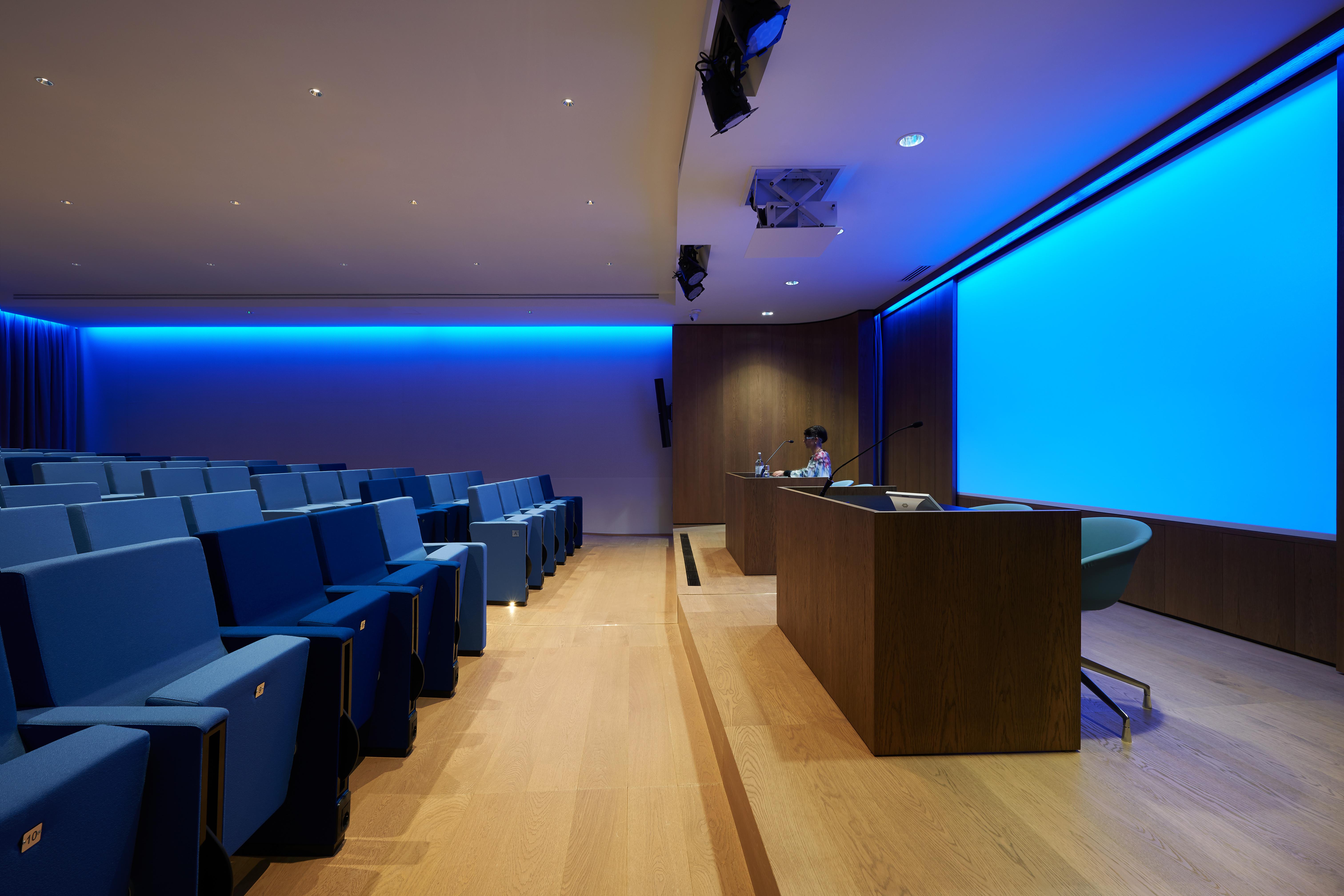 Nello spazio dell'Auditorium, curate sia le soluzioni per l'illuminazione dei piani visivi verticali del palco relatori, come per gli eventi conferenza l'illuminazione dei piani orizzontali realizzata con piccoli spot a fuoco arretrato