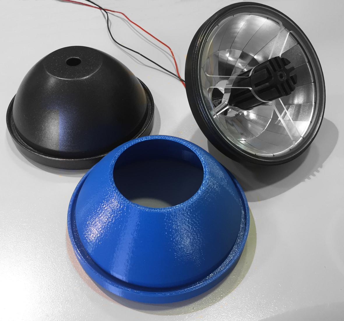 L'involucro realizzato per l'ottica per il retrofit di un sistema AR 111 (courtesy: Almeco Group)