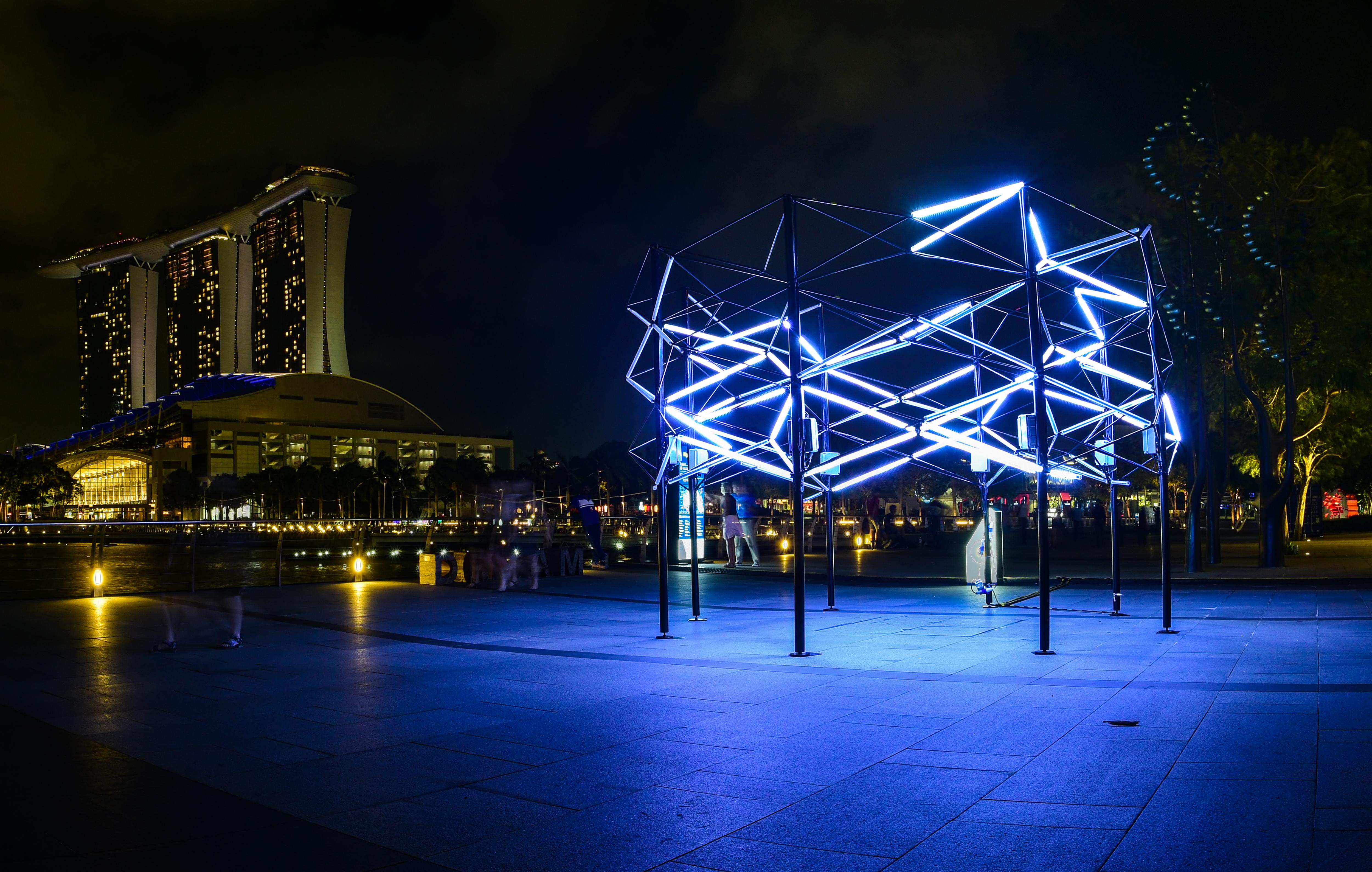 i Light Marina Bay 2016. Immagine di una delle installazioni dell'edizione 2016