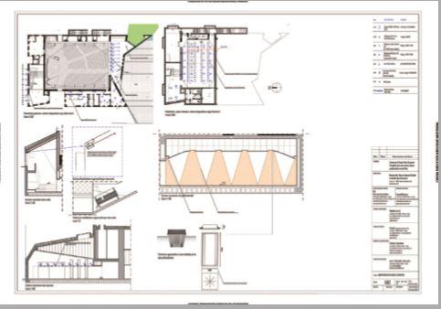Planimetrie e sezioni di progetto con il posizionamento degli apparecchi. A destra, il progetto relativo all'illuminazione per la torre campanaria