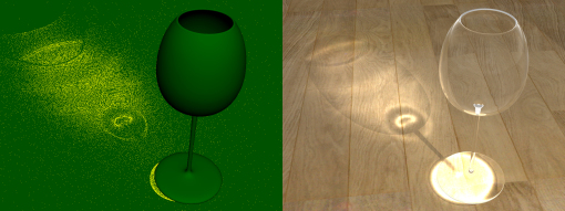Photon Mapping - Creazione mappa tridimensionale e rendering (fonte it.wikipedia.org/wiki/Ptoton_mapping)