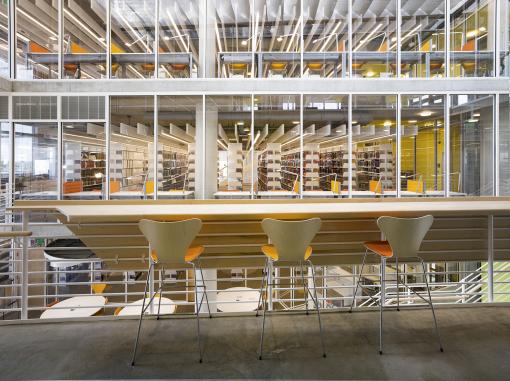 Università di Baltimora. Un'immagine dell'atrio con la grande biblioteca