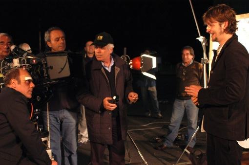 """Carlo Verdone, Danilo Desideri e Silvio Muccino sul set di """"Il mio miglior nemico"""" (2005) (cortesia: Danilo Desideri)"""