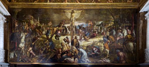 """Venezia, Scuola Grande di S. Rocco – Sala dell'Albergo. La """"Crocifissione"""" del Tintoretto (cortesia officine panottiche nuovo studio factory)"""