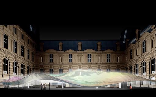 Parigi, Dipartimento di Arti Islamiche al Museo del Louvre, Parigi (2005). Un disegno per lo studio per la copertura (cortesia: Mario Bellini Architects)