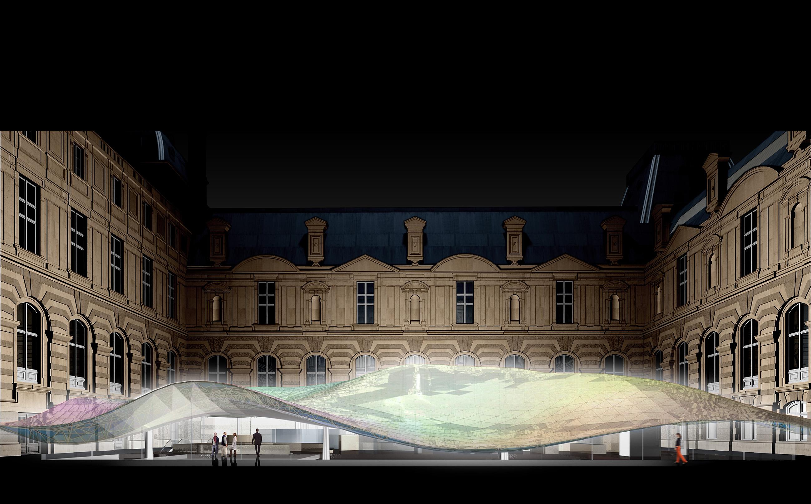 Parigi, Dipartimento di Arti Islamiche al Museo del Louvre, Parigi (2005). Un disegno per lo studio della copertura (cortesia: Mario Bellini Architects)