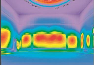 Studio in falsi colori dei livelli di illuminamento nella Sala VIII (cortesia ERCO)
