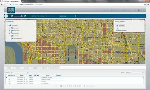 Il software CityTouch. Una schermata