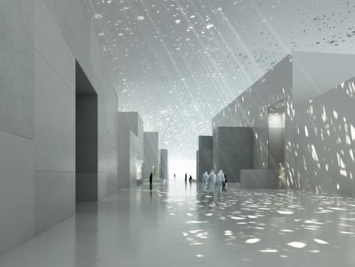Louvre Abu Dhabi. Vista dell'interno. © Ateliers Jean Nouvel, Artefactory, TDIC, Louvre Abu Dhabi