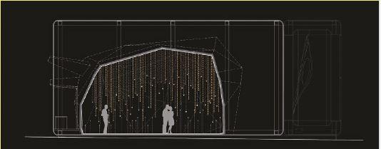 """""""Favilla. Ogni luce una voce"""". Euroluce 2015, Milano – Piazza S. Fedele. Sezione verticale (cortesia: Studio di Architettura Attilio Stocchi)"""