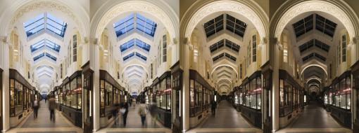 Londra, Burlington Arcade. Una sequenza con alcuni dei differenti scenari di accensione per i nuovi sistemi di illuminazione predisposti (courtesy photo: James Newton)