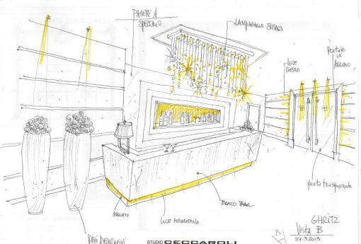 Uno schizzo di studio con il progetto di illuminazione della zona bar (cortesia: Studio Ceccaroli)