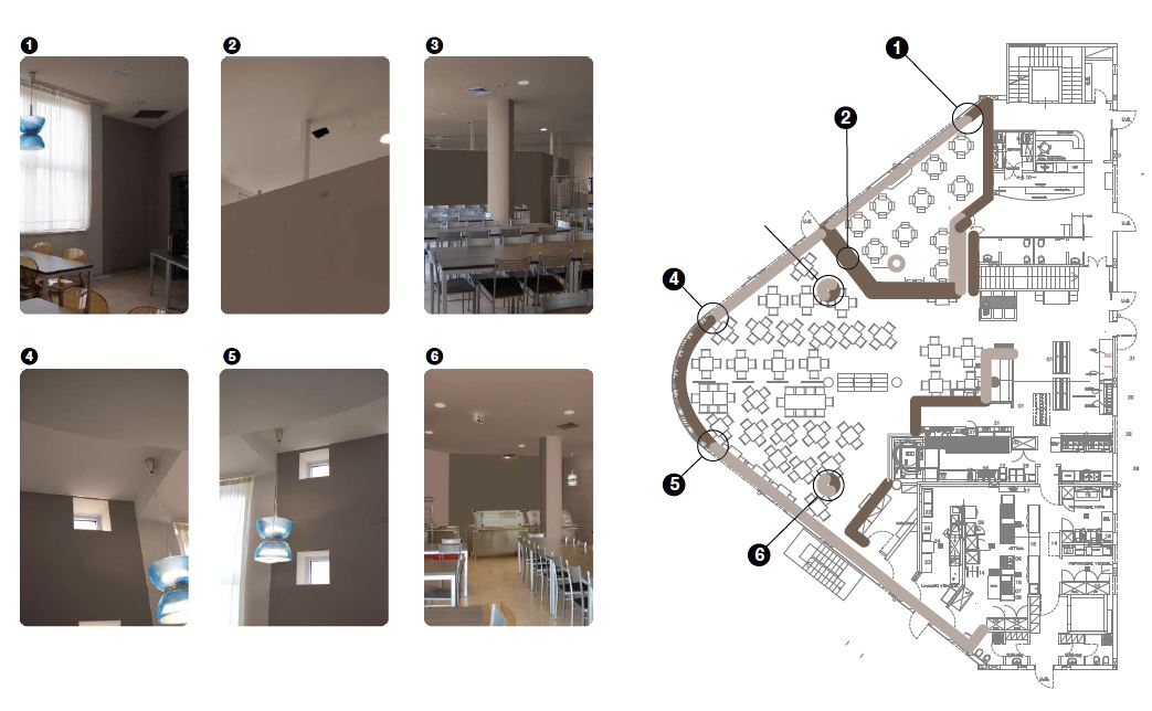 Un'altra pianta dell'edificio. Anche in questo caso, sono visibili nel dettaglio alcuni dei diversi approcci seguiti dal progetto di Color Design degli spazi (cortesia: Colordesigners)