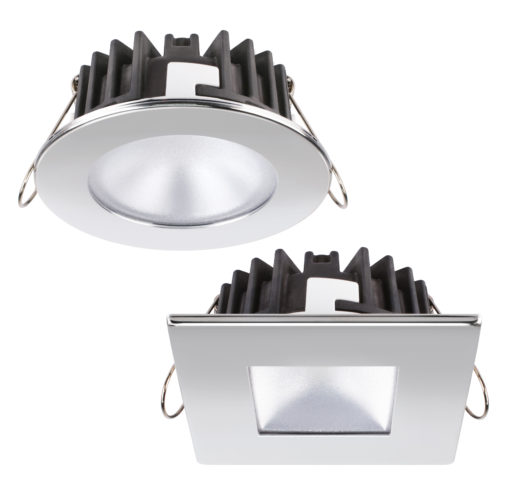 I downlight a luce LED della serie XP Kai (di forma rotonda) e Marina (quadrato) (cortesia Quicklighting)