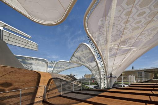 """Due immagini per presentare le strutture architettoniche de """"gli alberi solari"""", con un dettaglio dei moduli esagonali flessibili OPV a film integrato (courtesy: Schmidhuber.de)"""