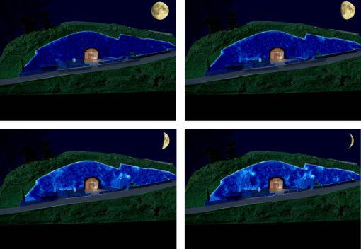 Solopaca, Acquedotto Alto Calore. Una sequenza di studio della regia luminosa con gli effetti di illuminazione, in relazione alle quattro fasi lunari (cortesia: Cannata & Partners Lighting Design; foto: arch. Pasquale Palmieri)