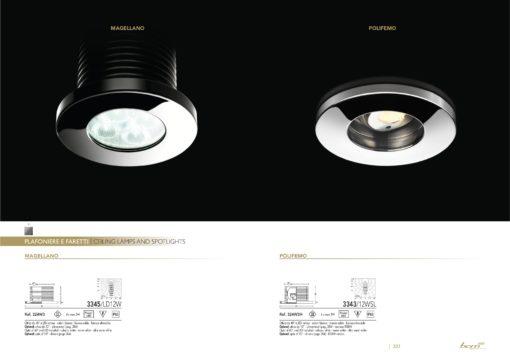 """Gli apparecchi """"Magellano"""" e """"Polifemo"""" (cortesia: BCM Illuminazione) (c) Il faretto orientabile """"Polifemo"""" (cortesia: BCM Illuminazione) )"""