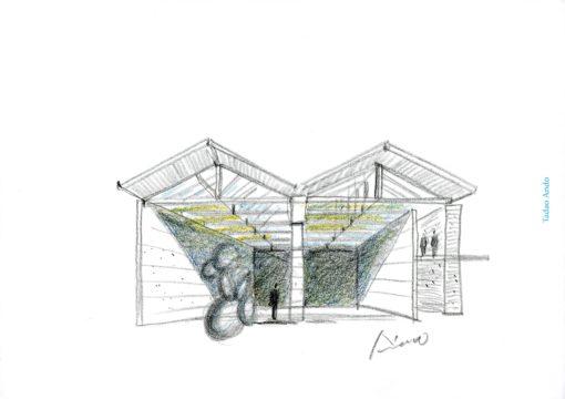 Uno studio con il concept progettuale pensato da Tadao Ando per lo spazio di Punta della Dogana (© Studio Tadao Ando)