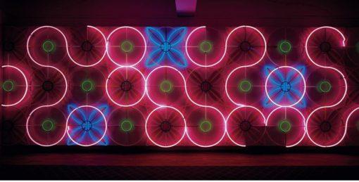 Patrick Tuttofuoco, Y – 2004 (per Luce di Pietra, Roma, aprile 2007 - Sotterranei di Palazzo Farnese, Galleria nord-occidentale). Luci al neon a forma di « Y » si riflettono sulle pareti del sottosuolo