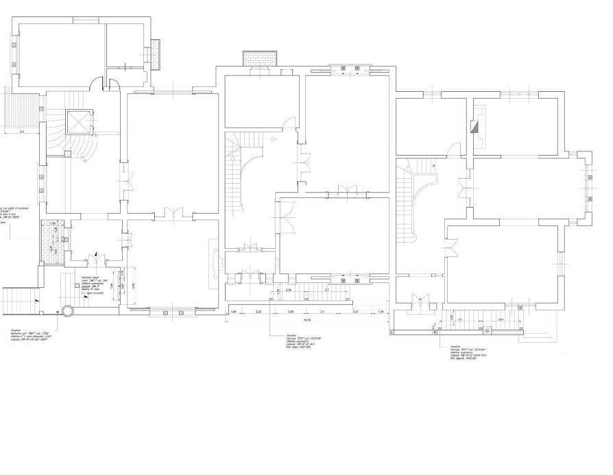 Progettoilluminotecnico per i Villini delle Fate, Roma. Planimetria primo piano (cortesia: arch. Francesca Storaro)